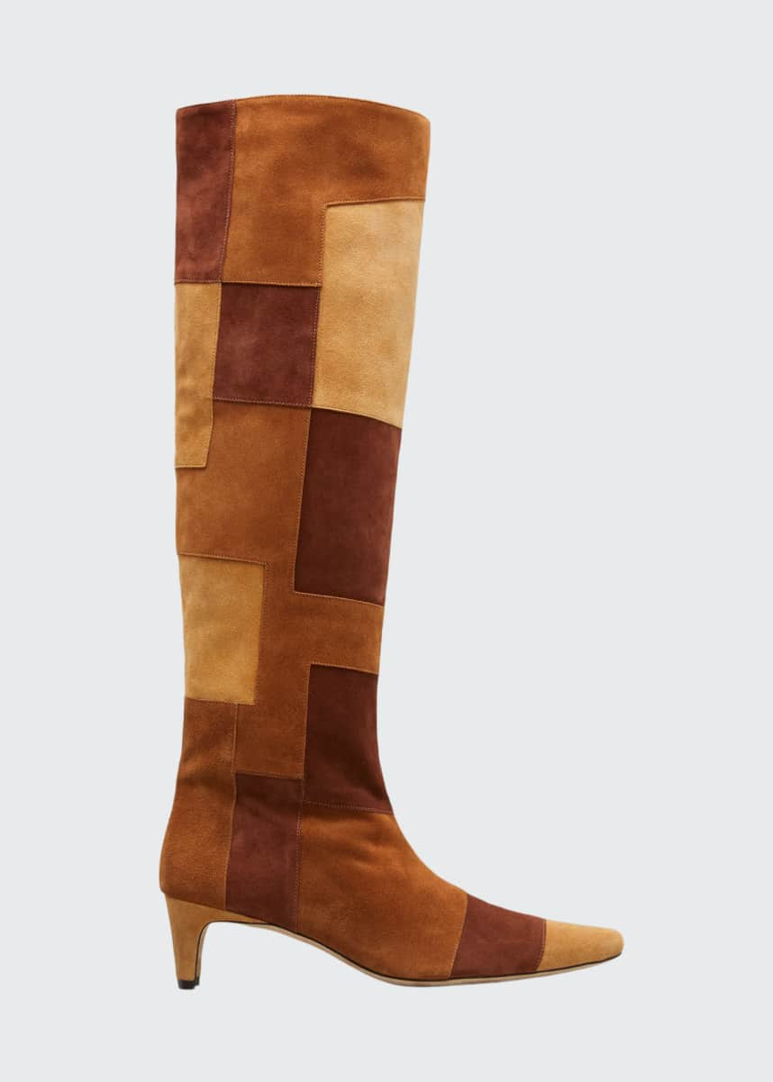 Staud Wally Suede Patchwork Tall Boots