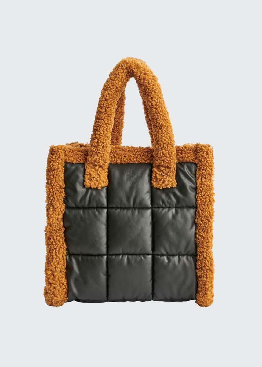 Stand Studio Lolita Medium Quilted Furry Tote Bag