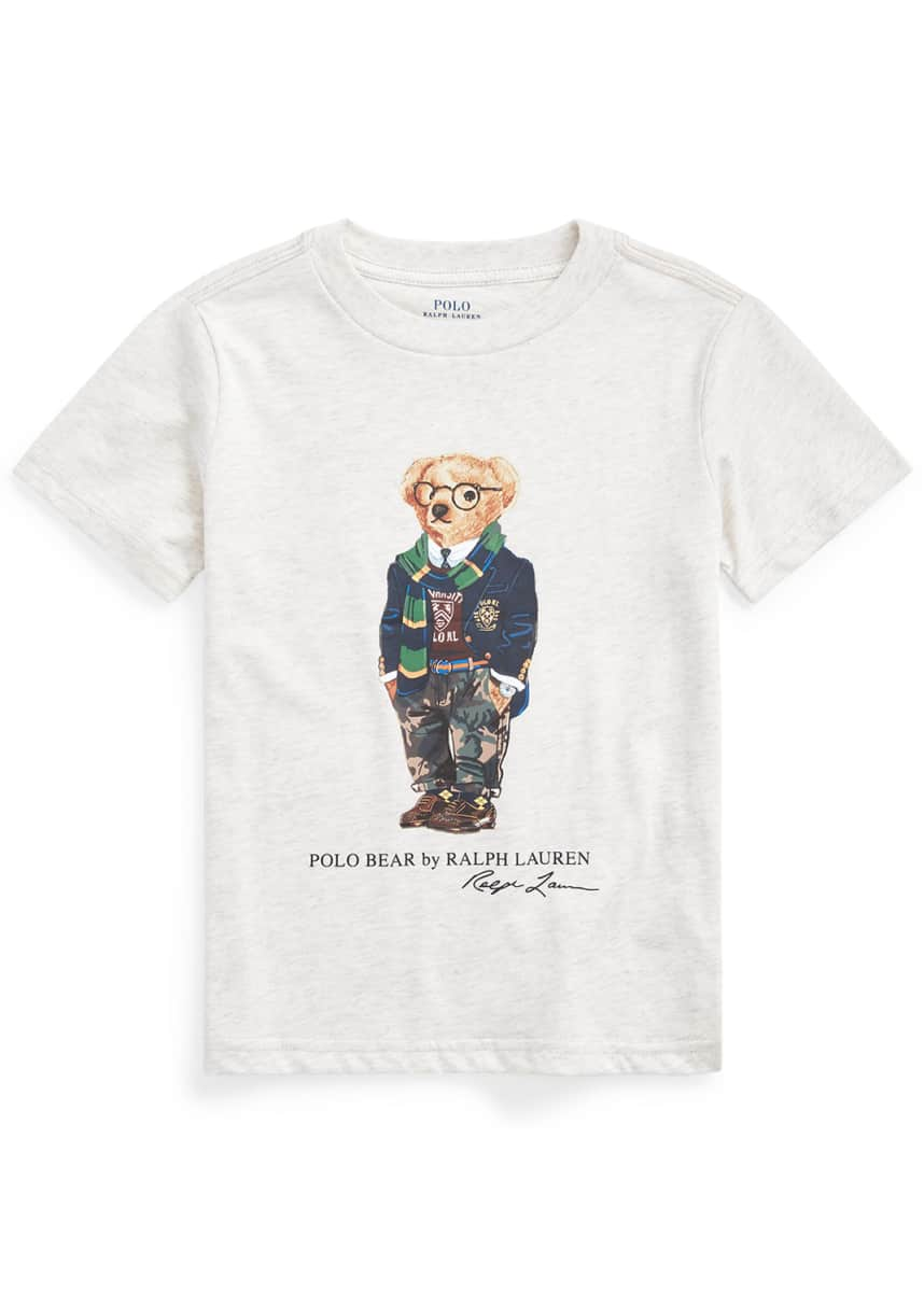 Ralph Lauren Childrenswear Boy's Polo Bear Printed Short-Sleeve Shirt, Size 5-7