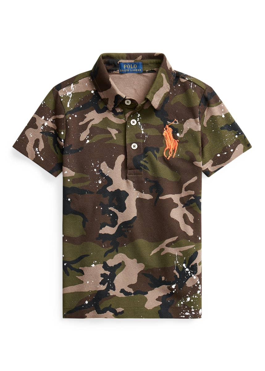 Ralph Lauren Childrenswear Boy's Camouflage Short-Sleeve Polo Shirt, Size 5-7