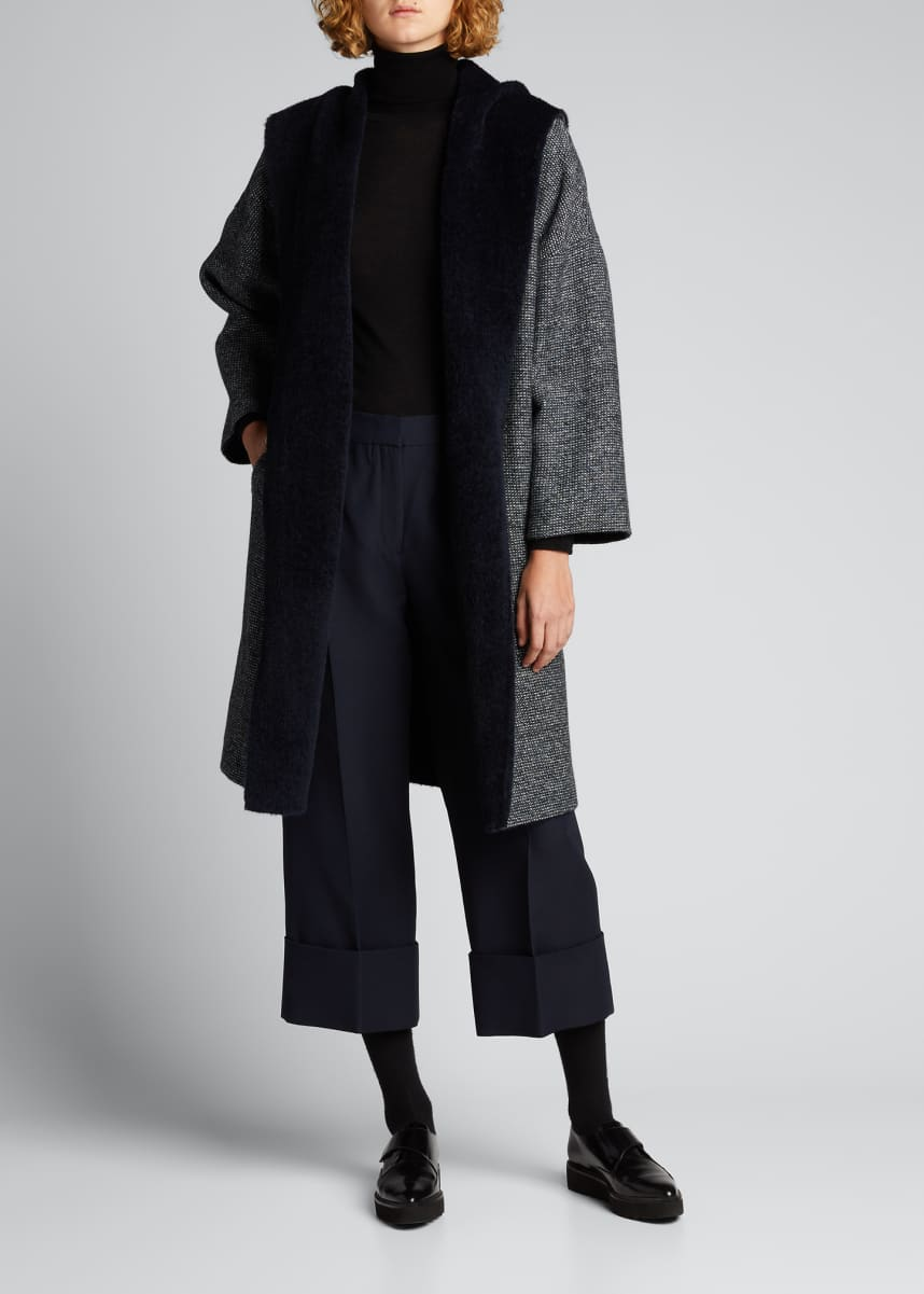 Maxmara Erba Tweed Hooded Reversible Wrap Coat