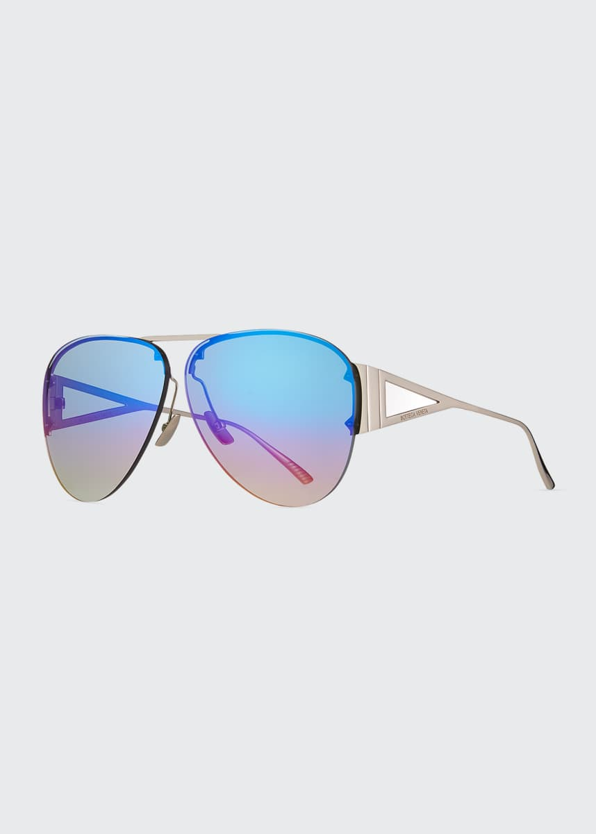 Bottega Veneta Rimless Metal Mirrored Aviator Sunglasses
