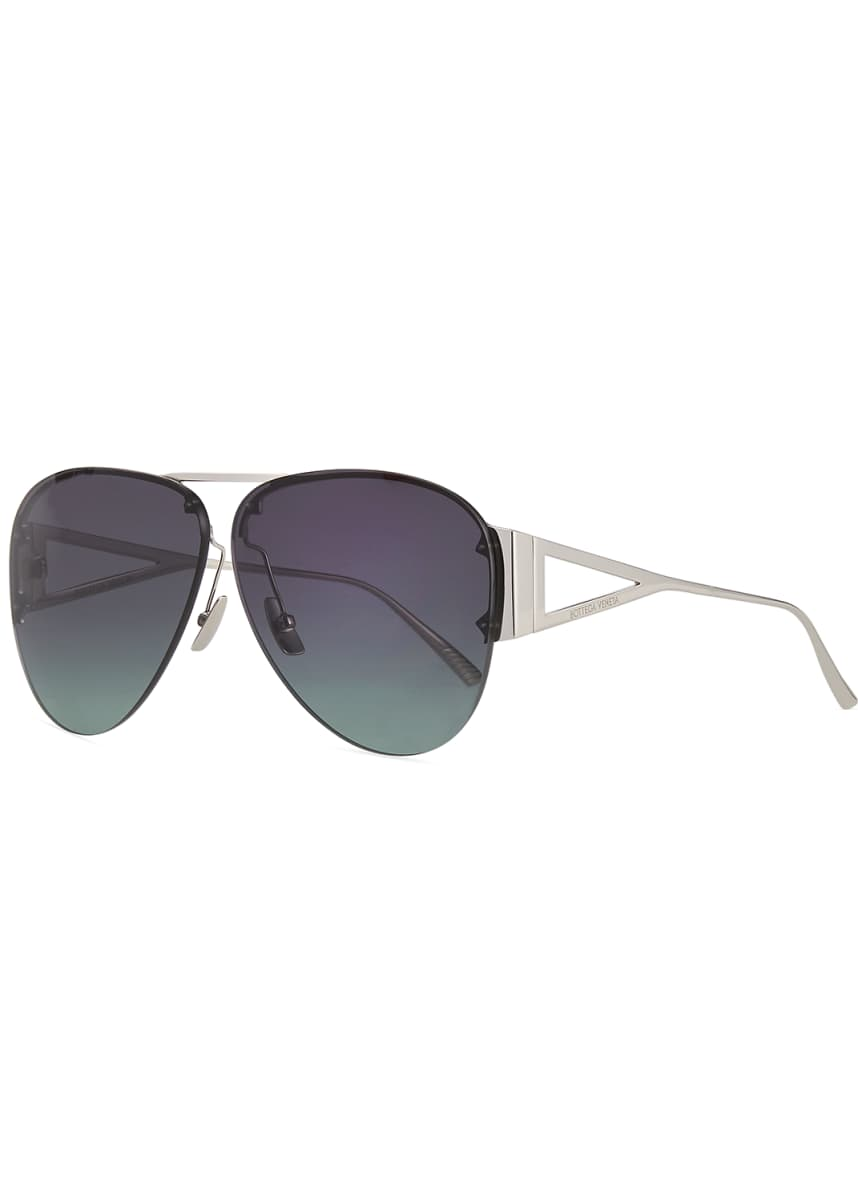 Bottega Veneta Rimless Metal Aviator Sunglasses, Silver