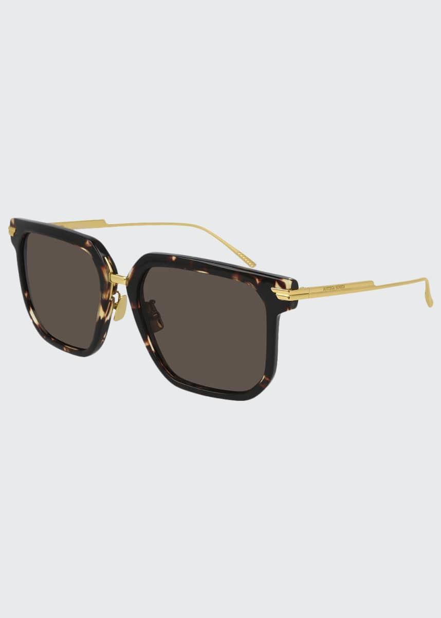 Bottega Veneta Oversized Square Acetate/Metal Sunglasses