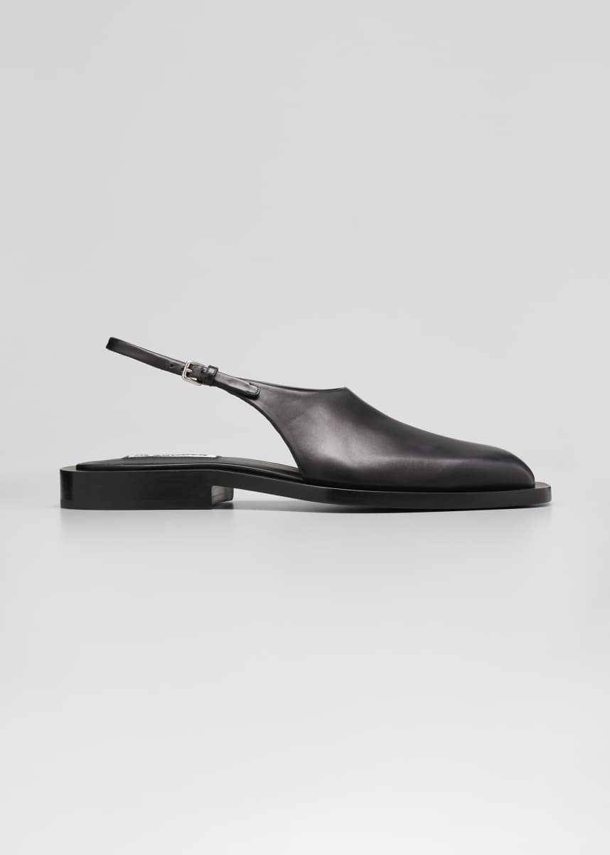Jil Sander Slingback Leather Flat Sandals
