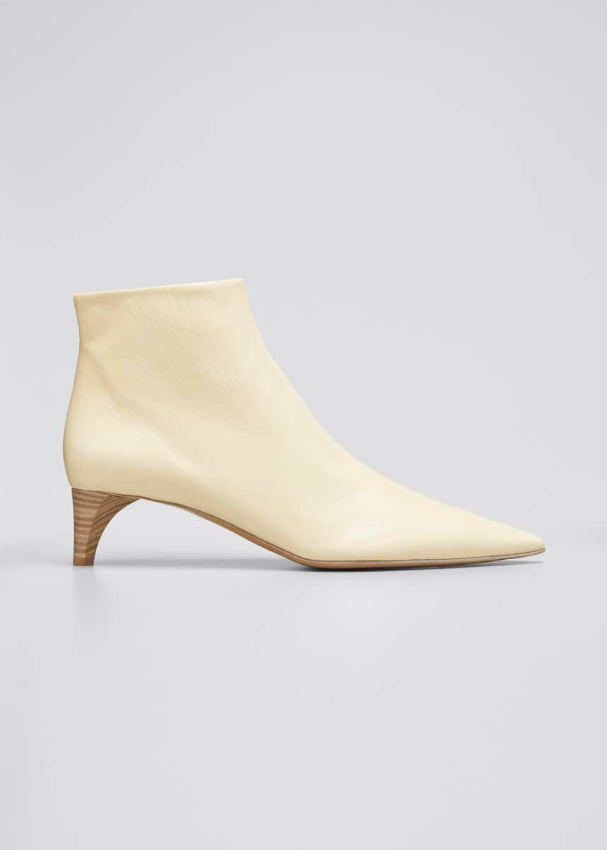 Jil Sander Leather Pointed Ankle Boots, Beige
