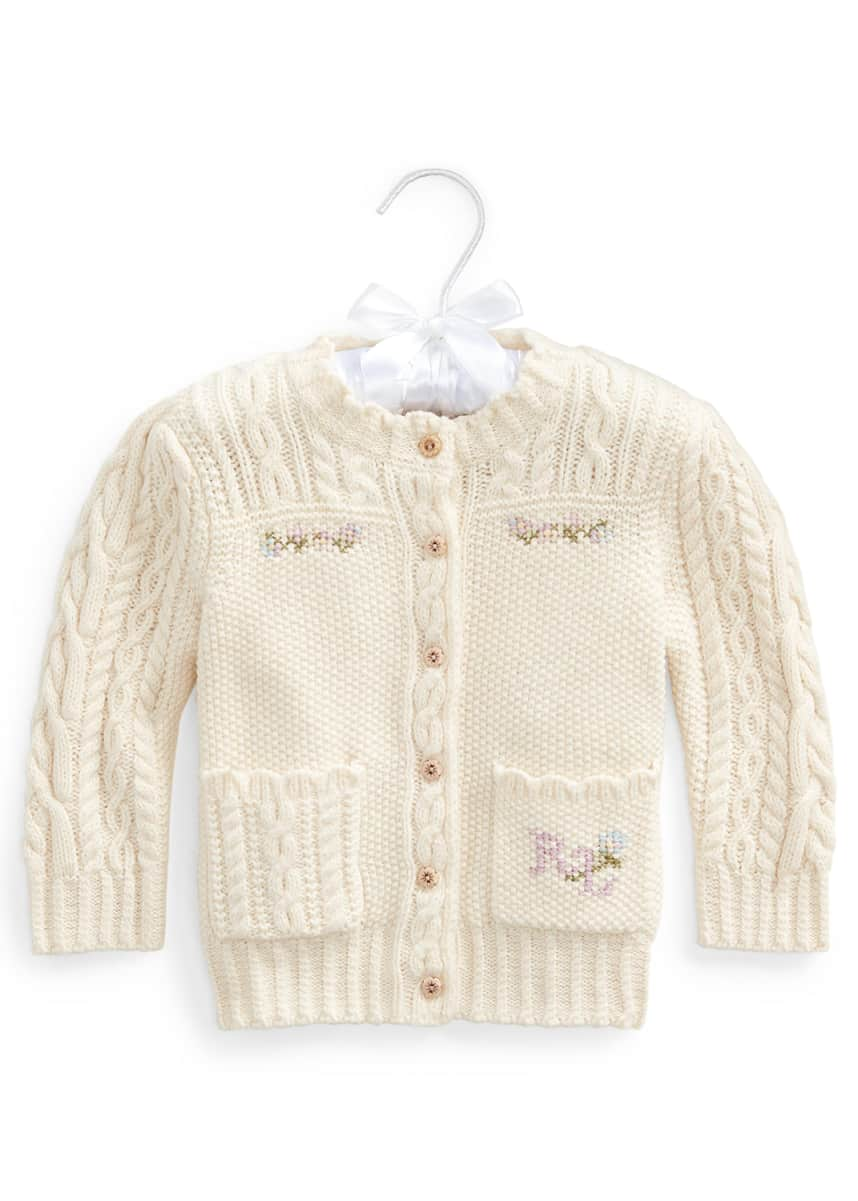 Ralph Lauren Childrenswear Girl's Floral Intarsia Cable Knit Cardigan, Size 6-24M