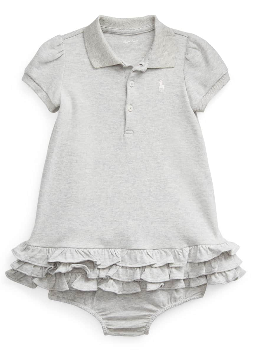 Ralph Lauren Childrenswear Girl's Tiered Ruffle Fit-and-Flare Polo Dress, Size 9-24M