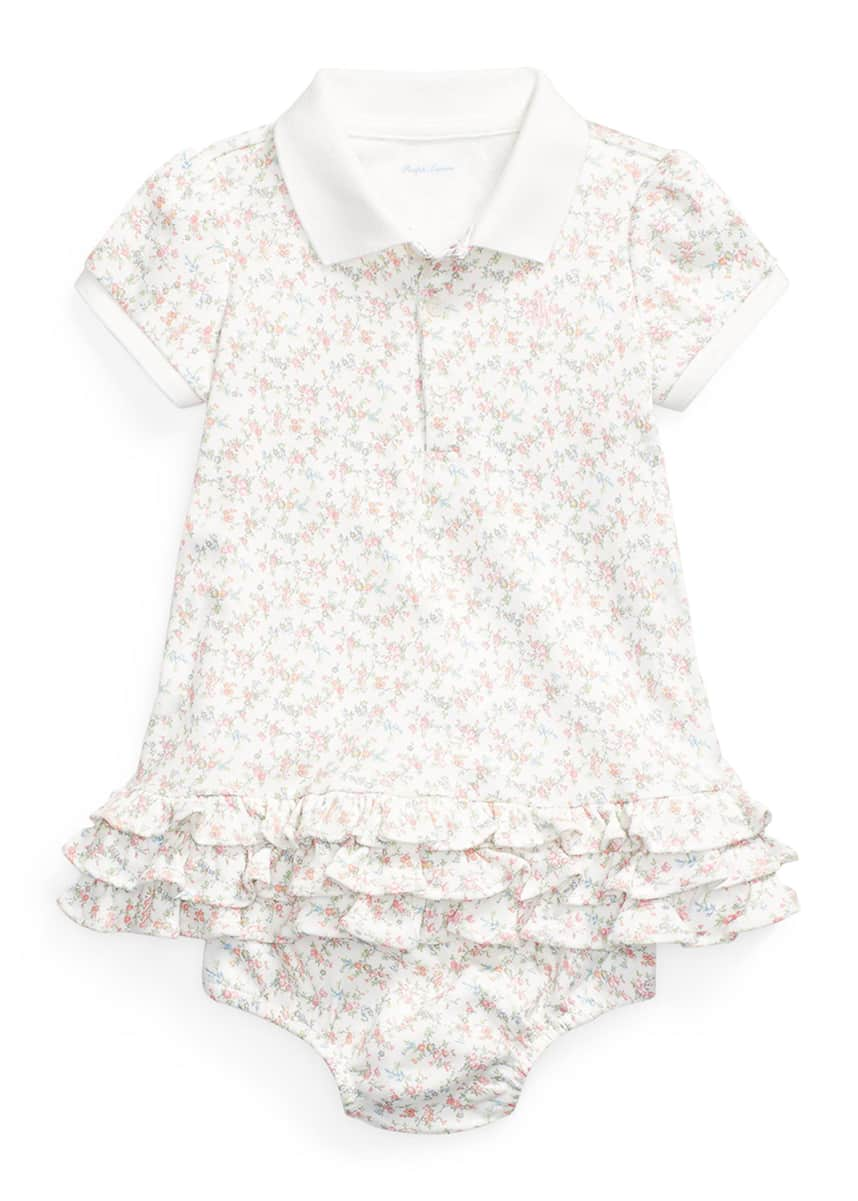 Ralph Lauren Childrenswear Girl's Short-Sleeve Floral Polo Dress w/ Matching Bloomers, Size 6-24M