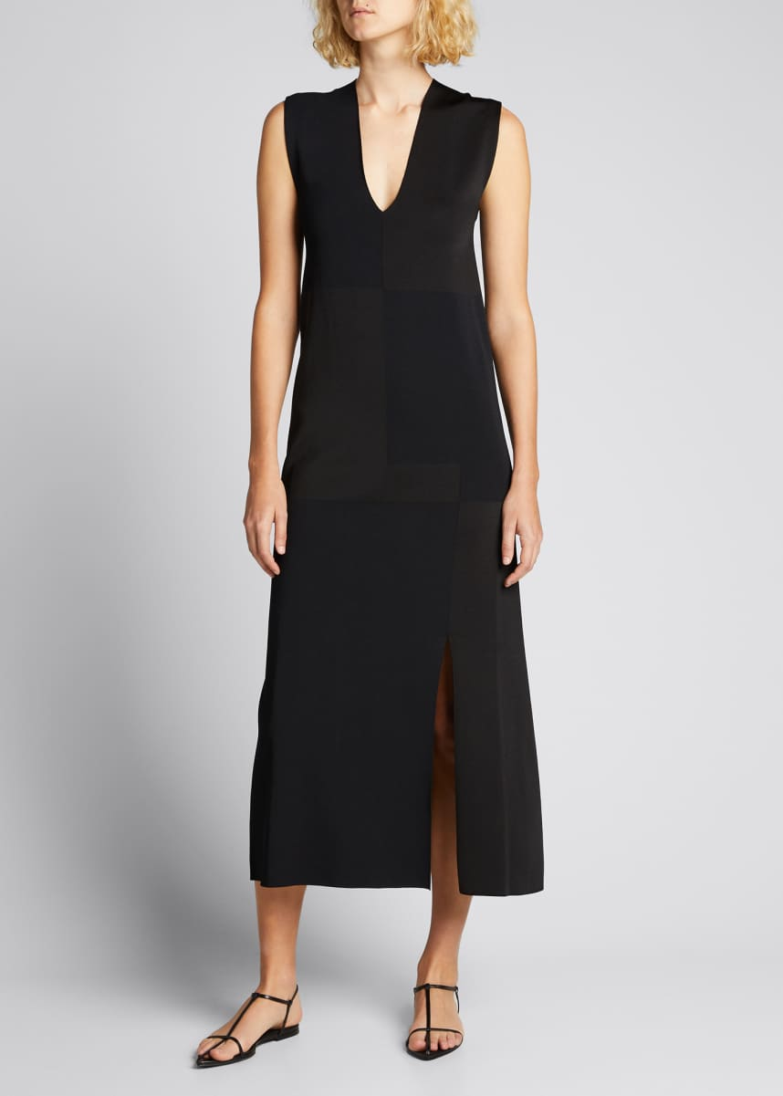 Jil Sander Sleeveless V-Neck Matte And Shiny Silk Patch Dress