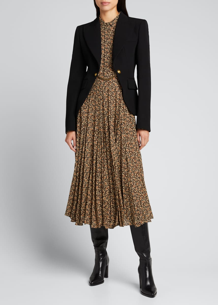 Michael Kors Collection Chain Wool Gabardine Cutaway Jacket