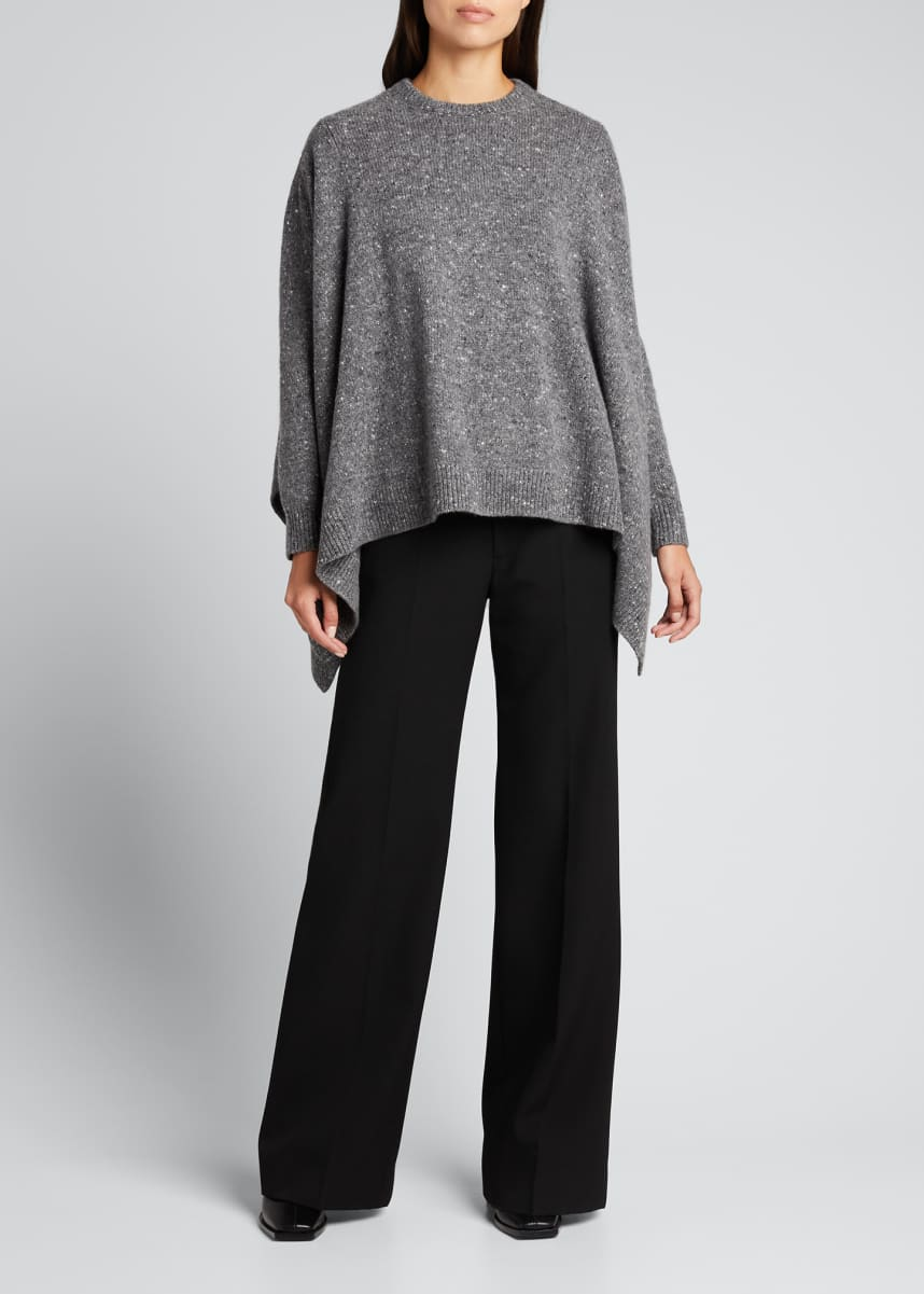 Michael Kors Collection Tweed Wool-Blend Draped Sweater