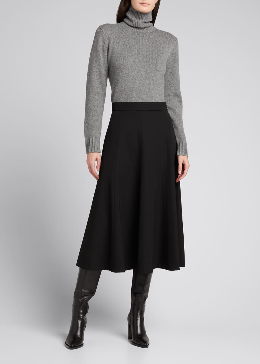 Michael Kors Collection Wool Flare Midi Skirt