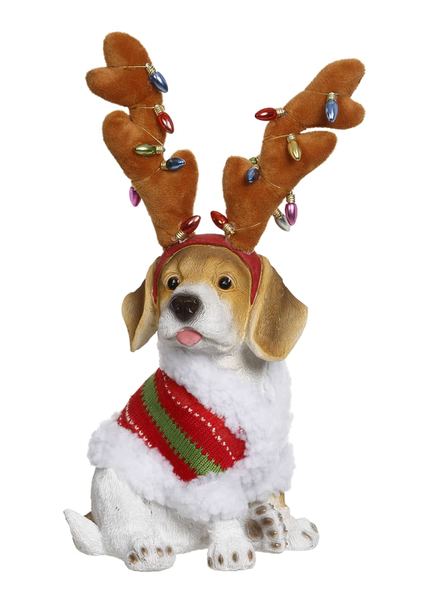Mark Roberts Christmas Dog with Deer Antlers