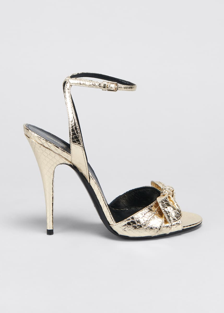Saint Laurent Anouk Metallic Snakeskin Bow Sandals