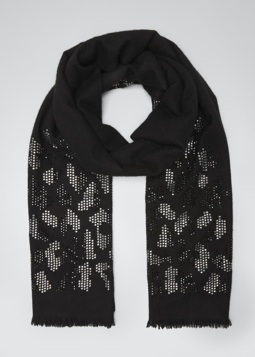 Sofia Cashmere Sequined Animal-Print Cashmere Scarf