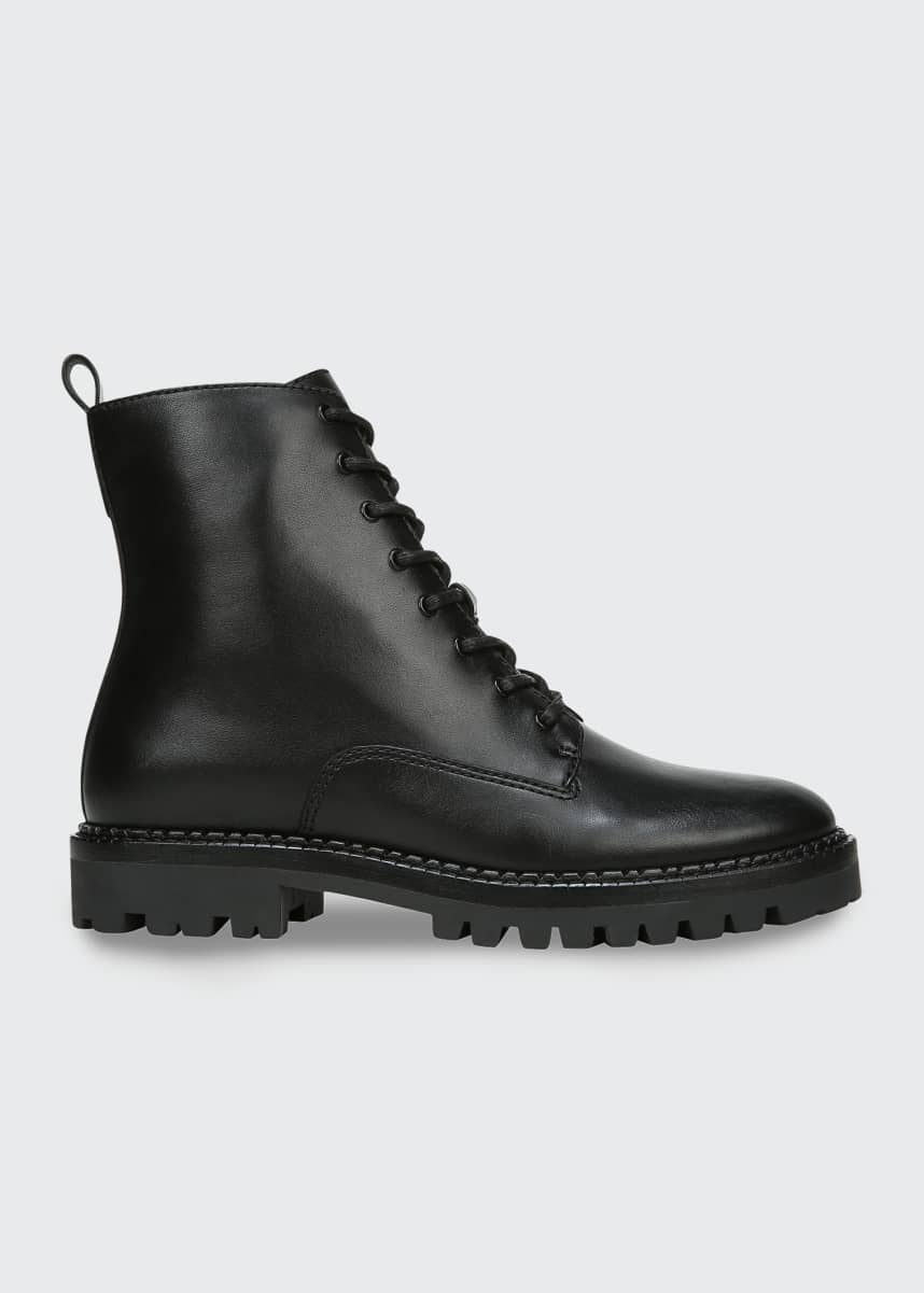 Vince Cabria Lug-Sole Leather Water-Repellant Combat Boots