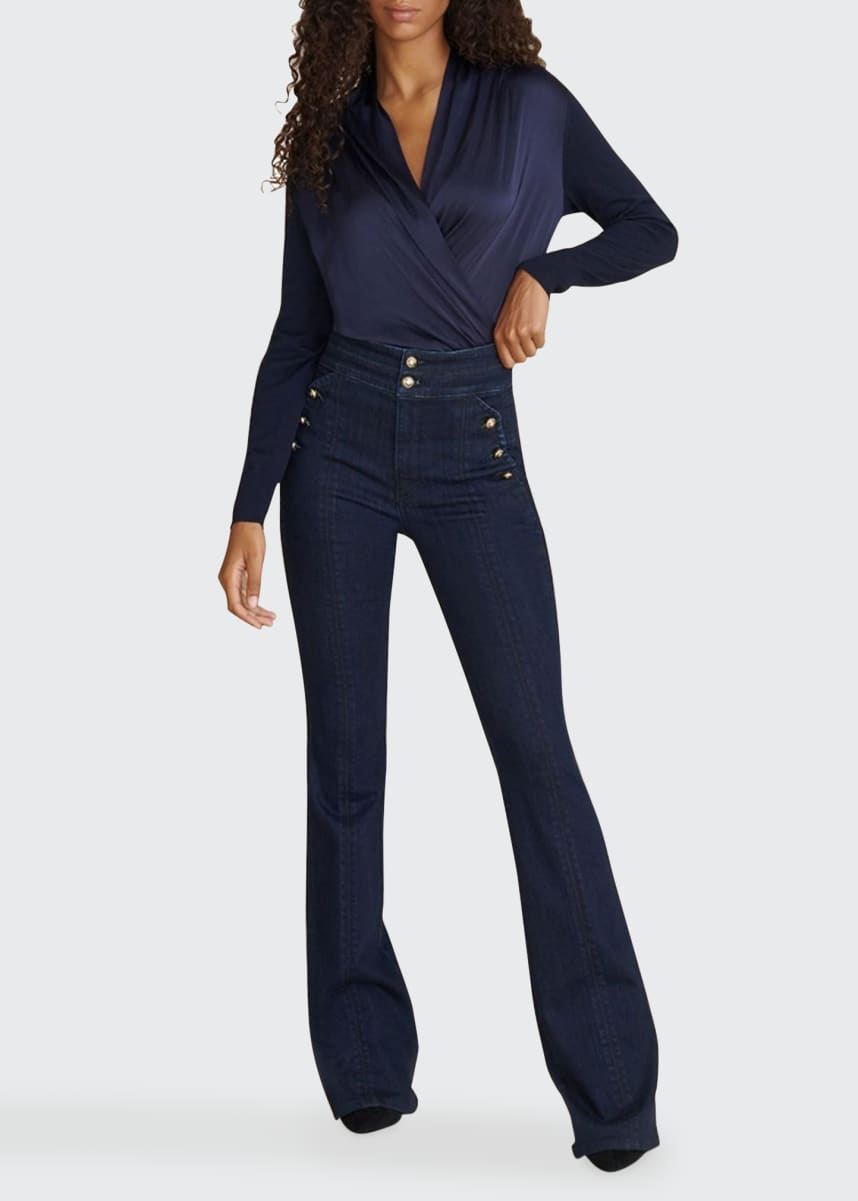 Veronica Beard Jeans Beverly High-Rise Flare Jeans with Side Buttons