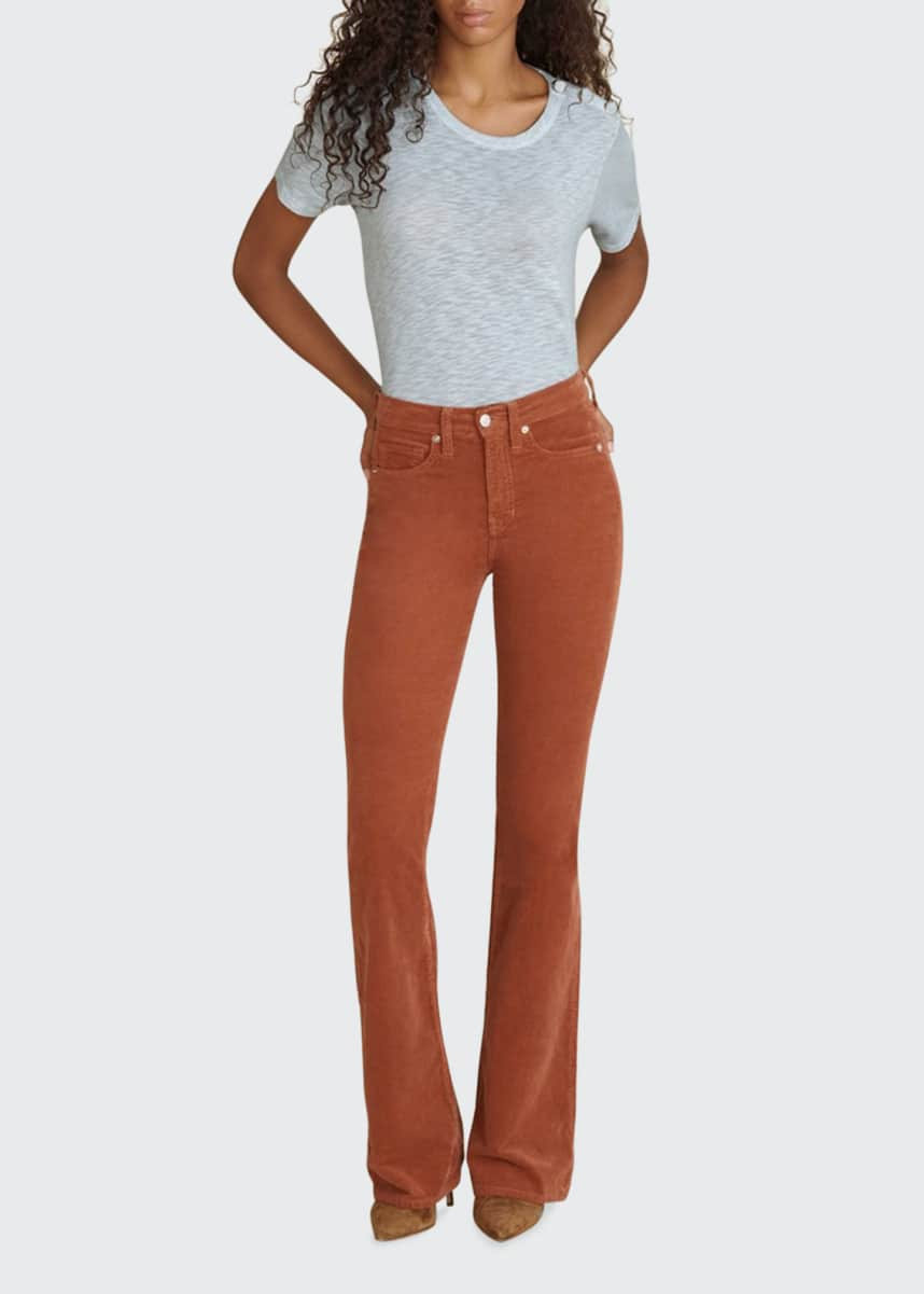 Veronica Beard Jeans Beverly Corduroy High-Rise Flare Pants