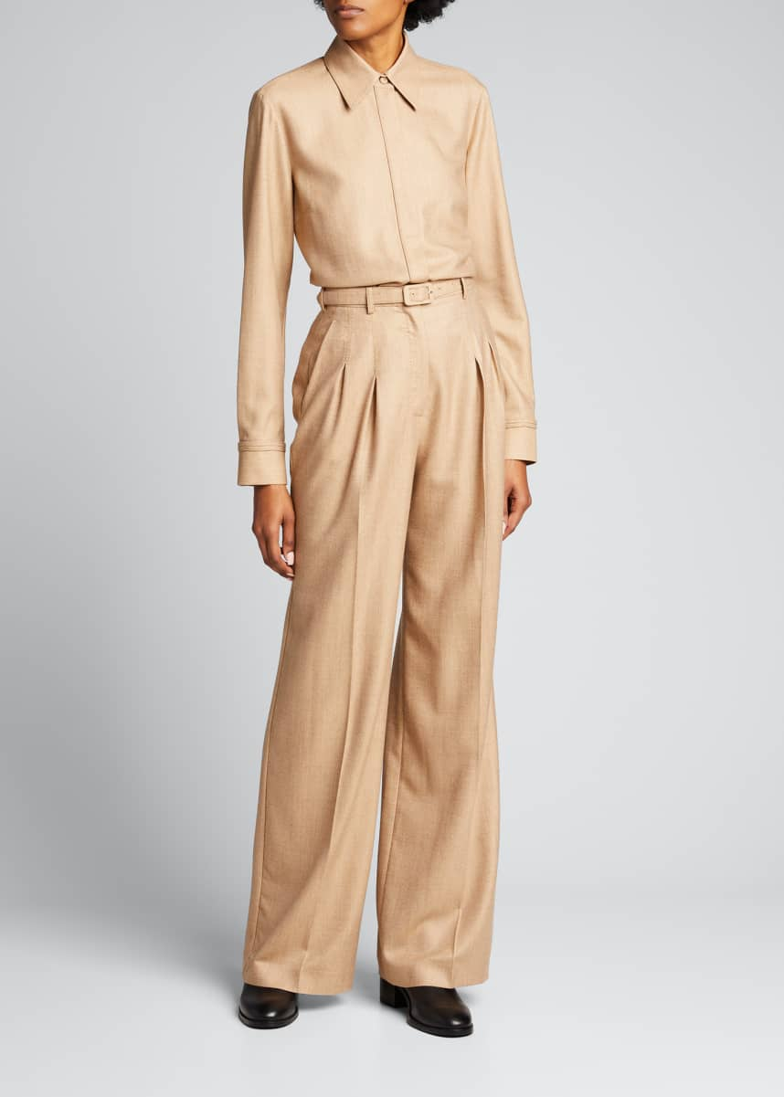 Gabriela Hearst Vargas Wool-Cashmere High-Rise Pants