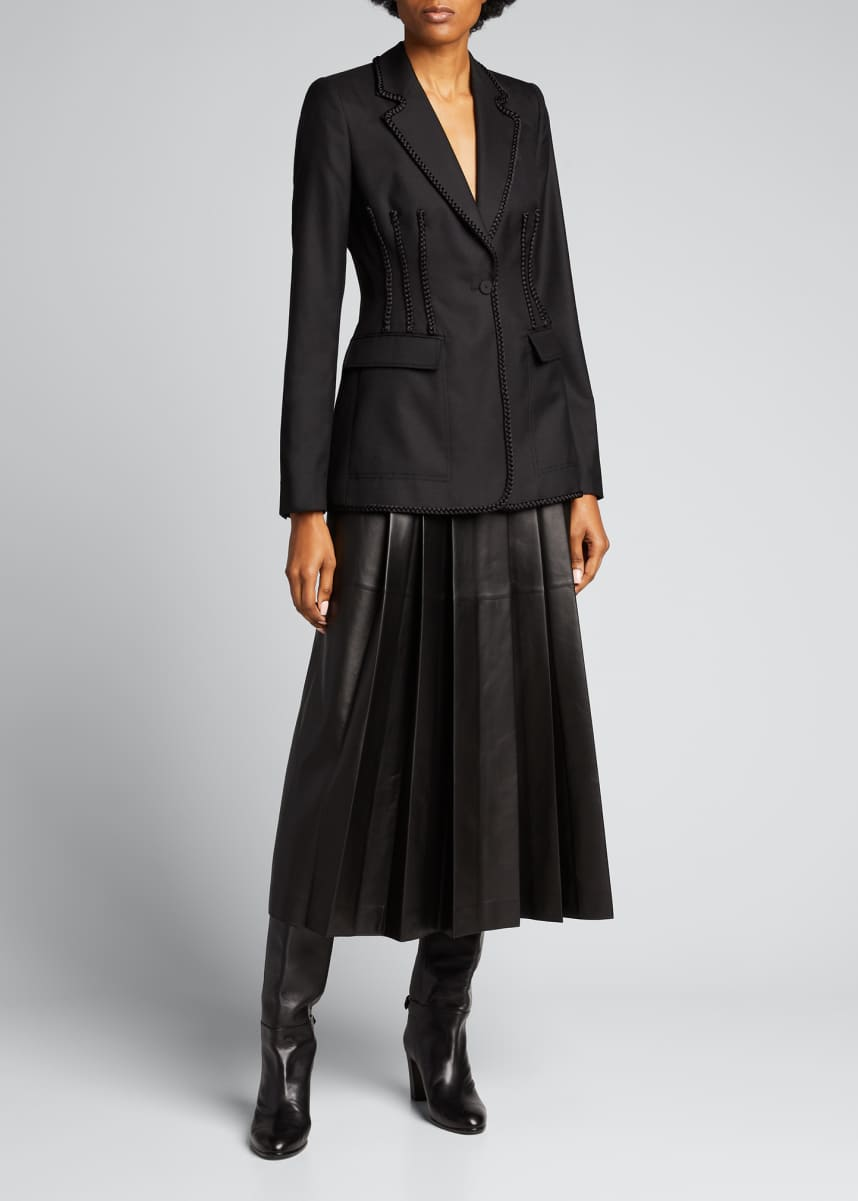 Gabriela Hearst Wesley Pleated Leather Skirt