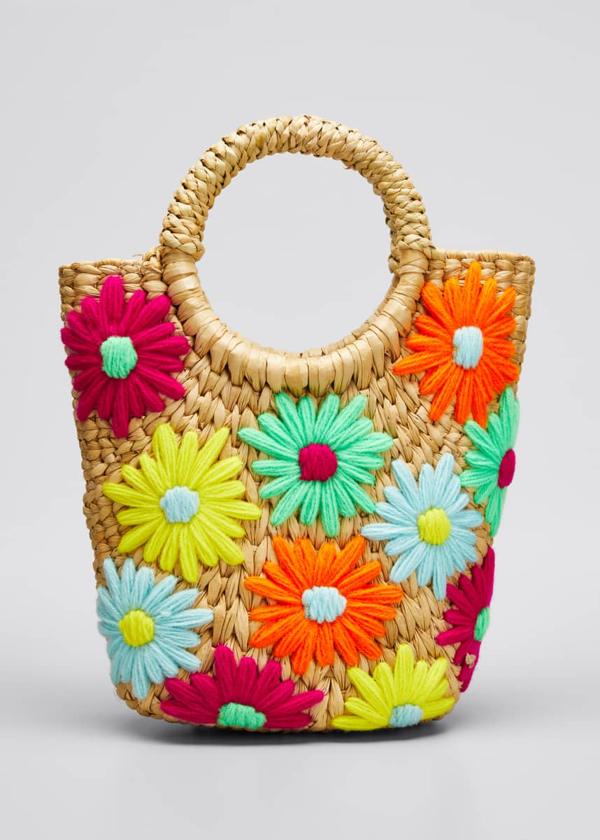 POOLSIDE Susan Mini Embroidered Floral Bucket Mini Tote Bag