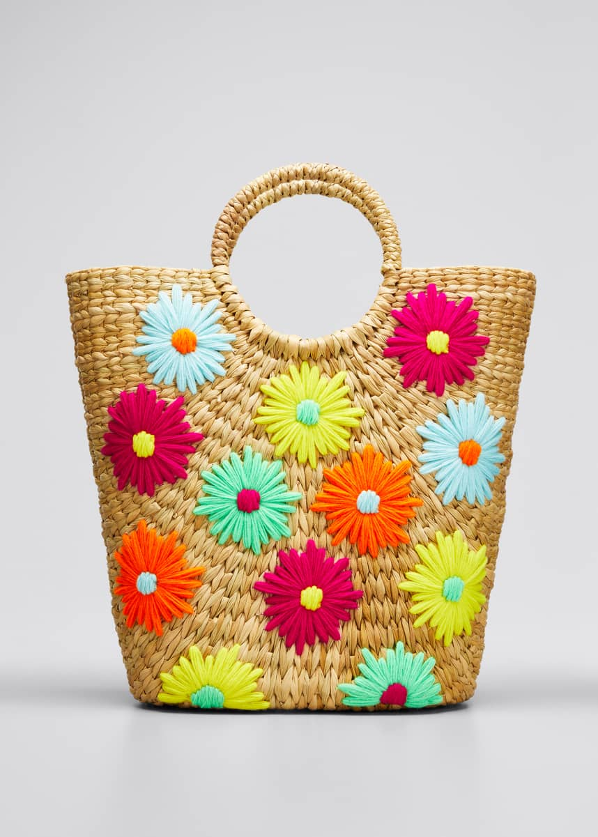 POOLSIDE Susan Embroidered Floral Bucket Tote Bag