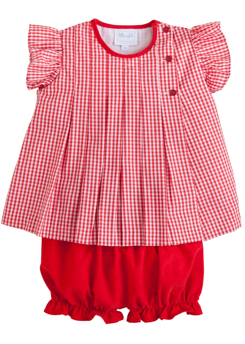 Little English Girl's Highlands Gingham Bloomer Set, Size 3M-4T