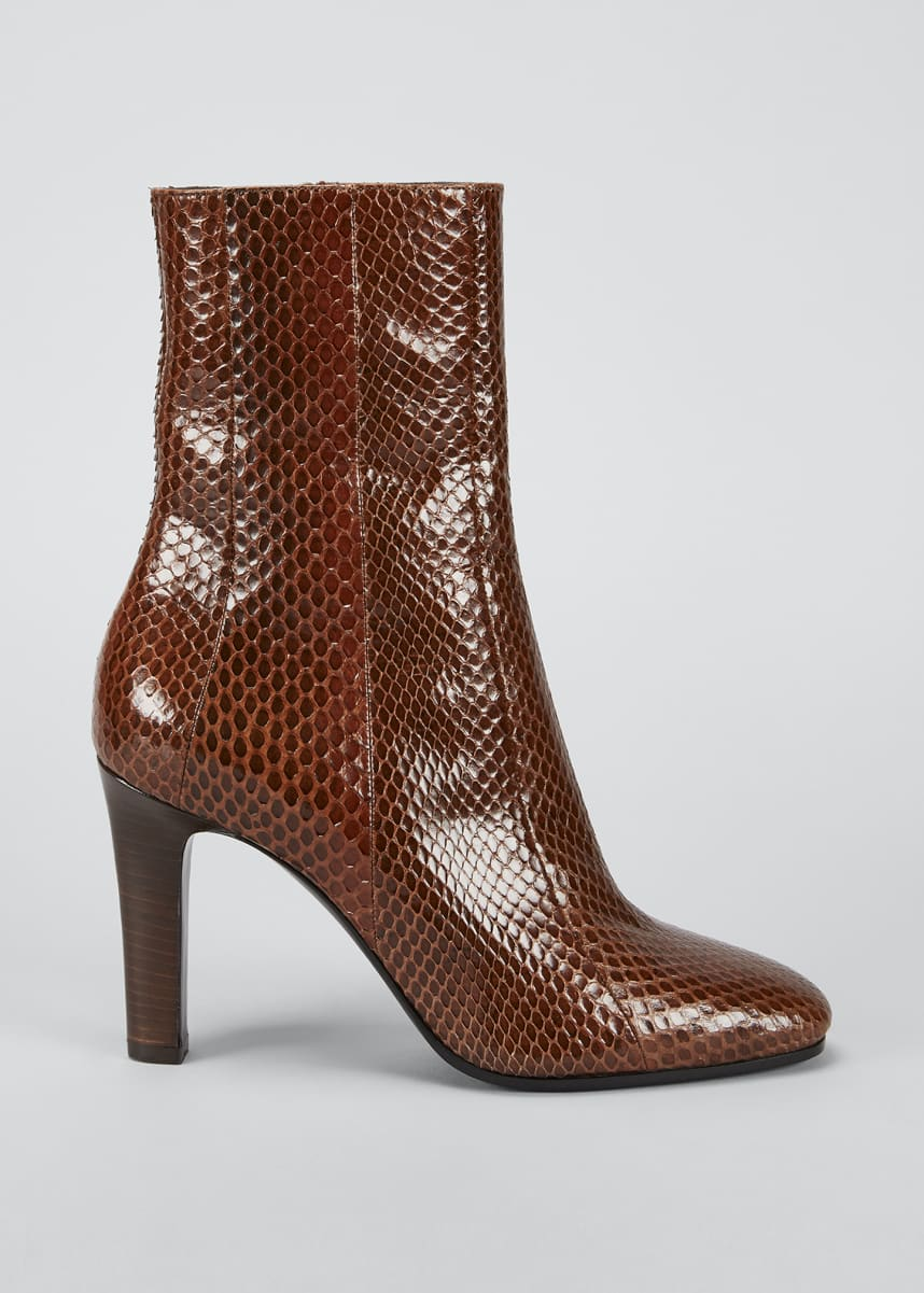 Saint Laurent Blu Z 90mm Snakeskin Ankle Booties
