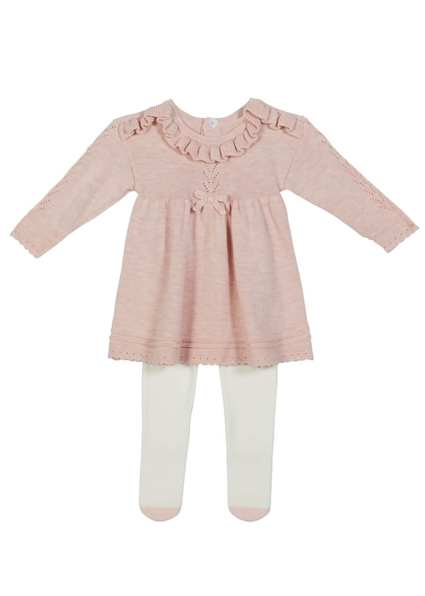 Miniclasix Girl's Pointelle Ruffle Sweater Dress Outfit Set, Size 3-9M