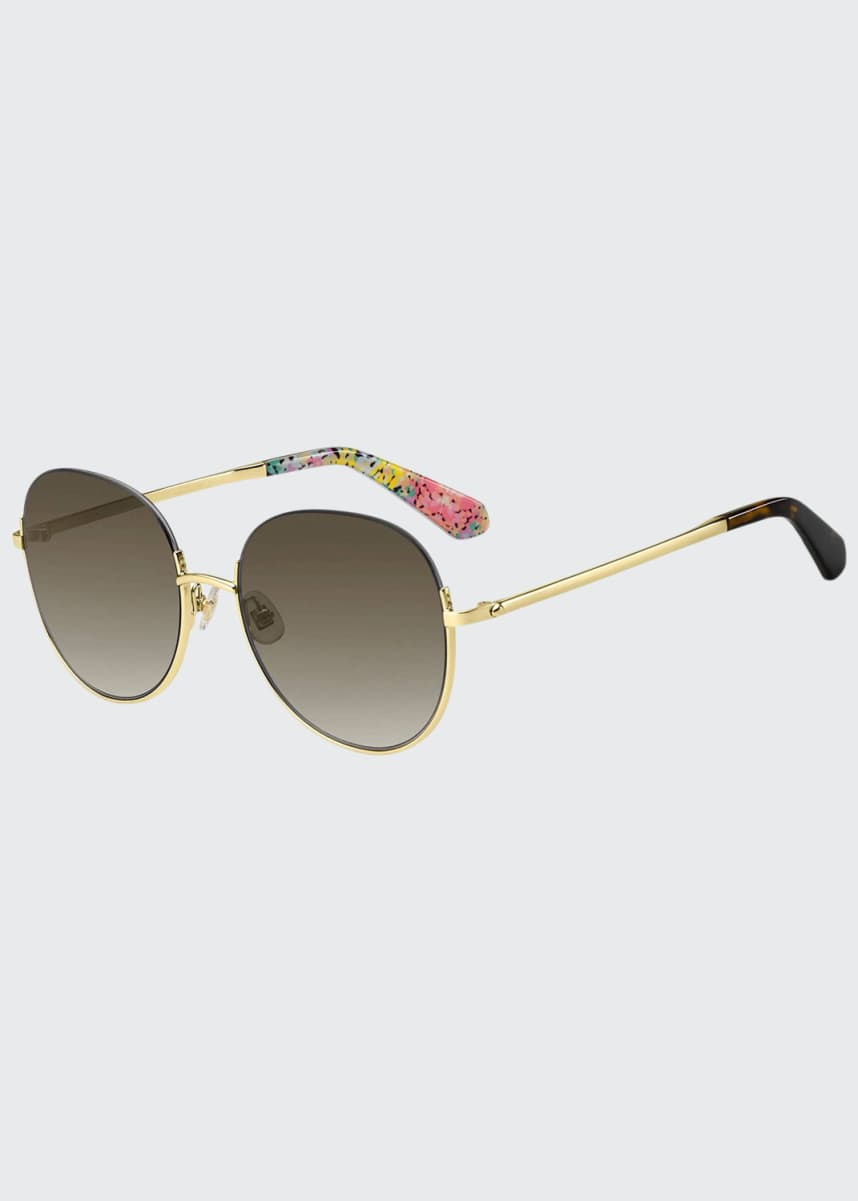 kate spade new york astelle semi-rimless round stainless steel sunglasses
