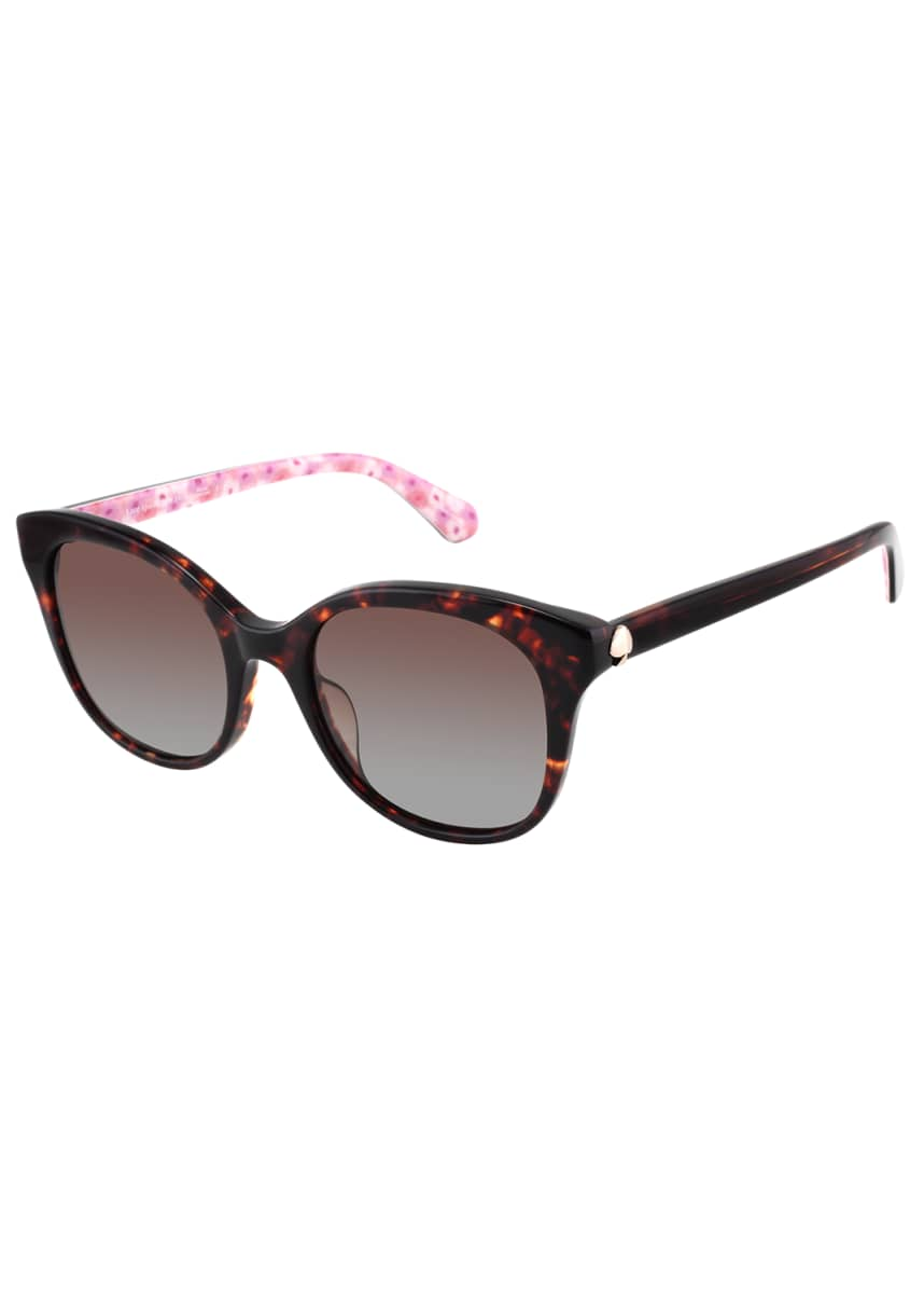 kate spade new york bianka round acetate sunglasses, pink