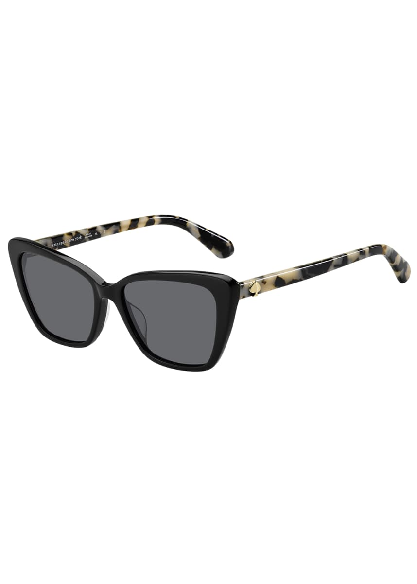 kate spade new york lucca acetate cat-eye sunglasses, black
