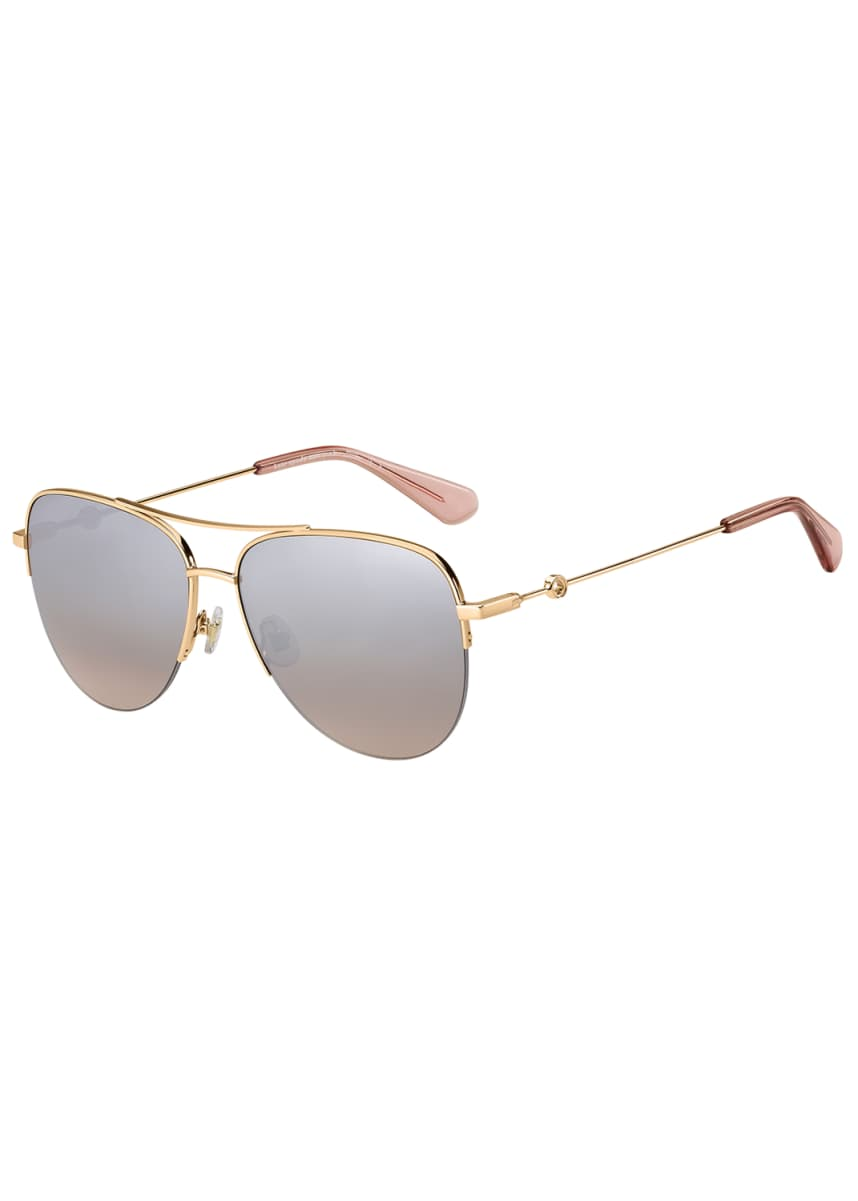 kate spade new york maisie stainless steel aviator sunglasses, pink