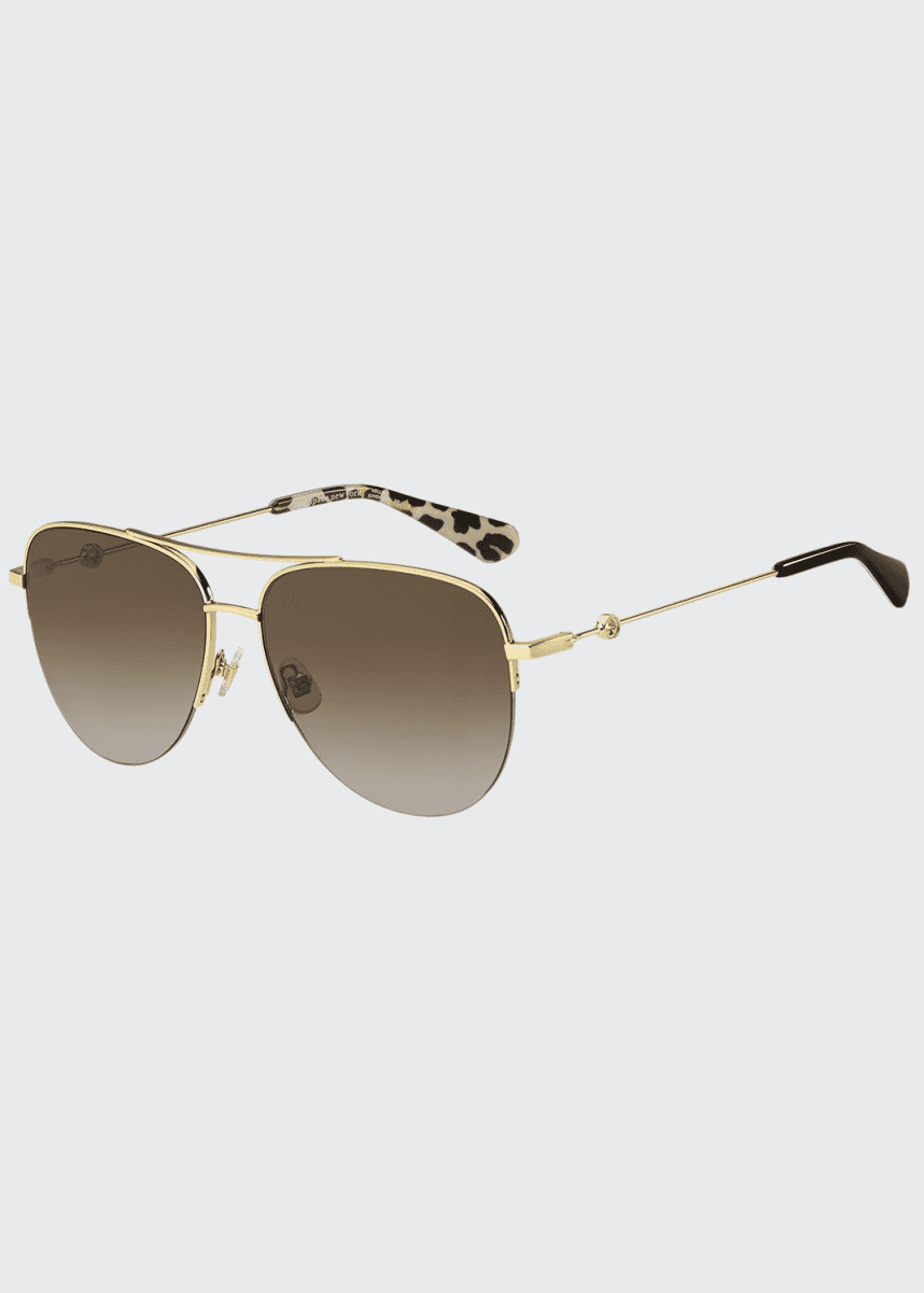 kate spade new york maisie stainless steel aviator sunglasses, brown