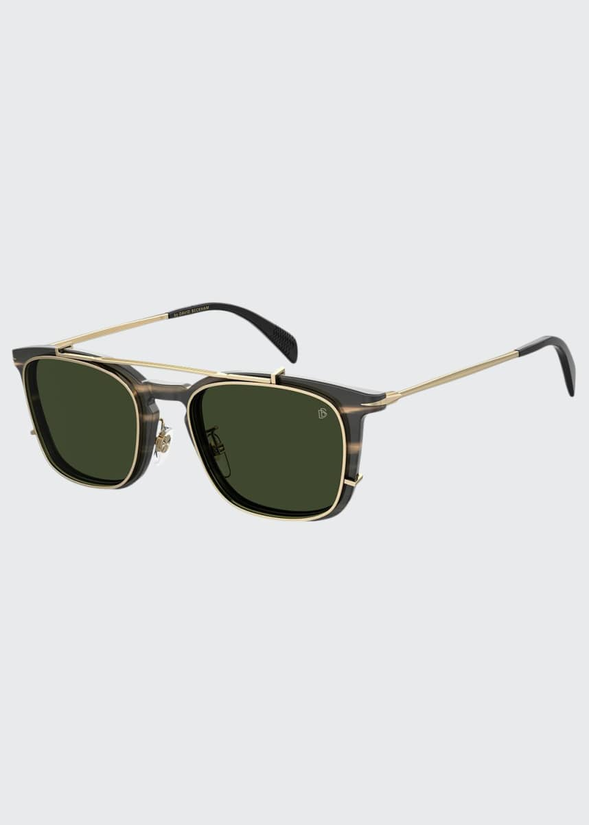 David Beckham Men's Square Acetate Brow-Bar Sunglasses