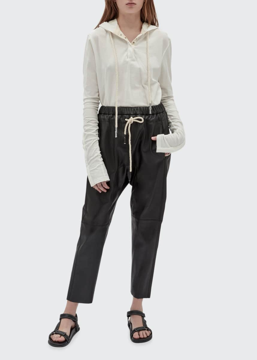 Bassike Relaxed Leather Ankle Pants