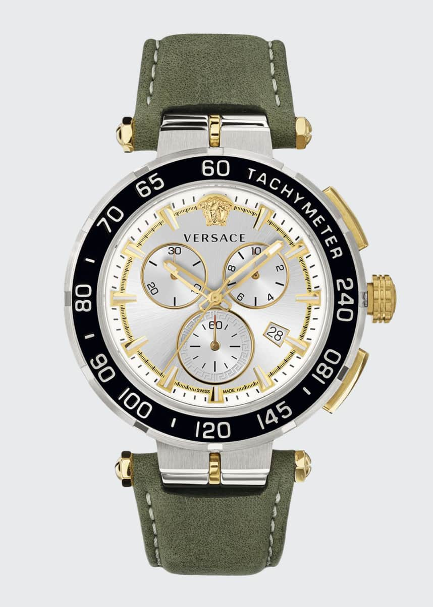 Versace Men's 45mm Greca Chrono Watch w/ Leather Strap