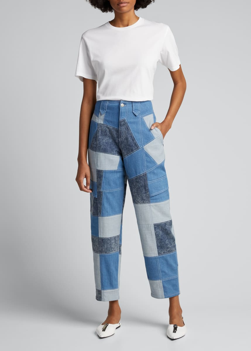 Stella McCartney Patchwork Safari Cropped Denim Pant