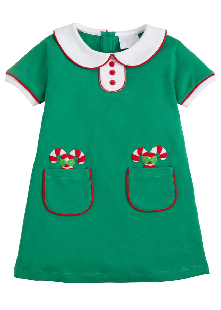 Little English Girl's Candy Cane Short-Sleeve Dress, Size 18M-8