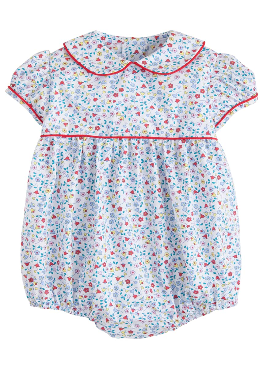 Little English Girl's Charlotte Floral-Print Bubble Playsuit, Size 3M-2T