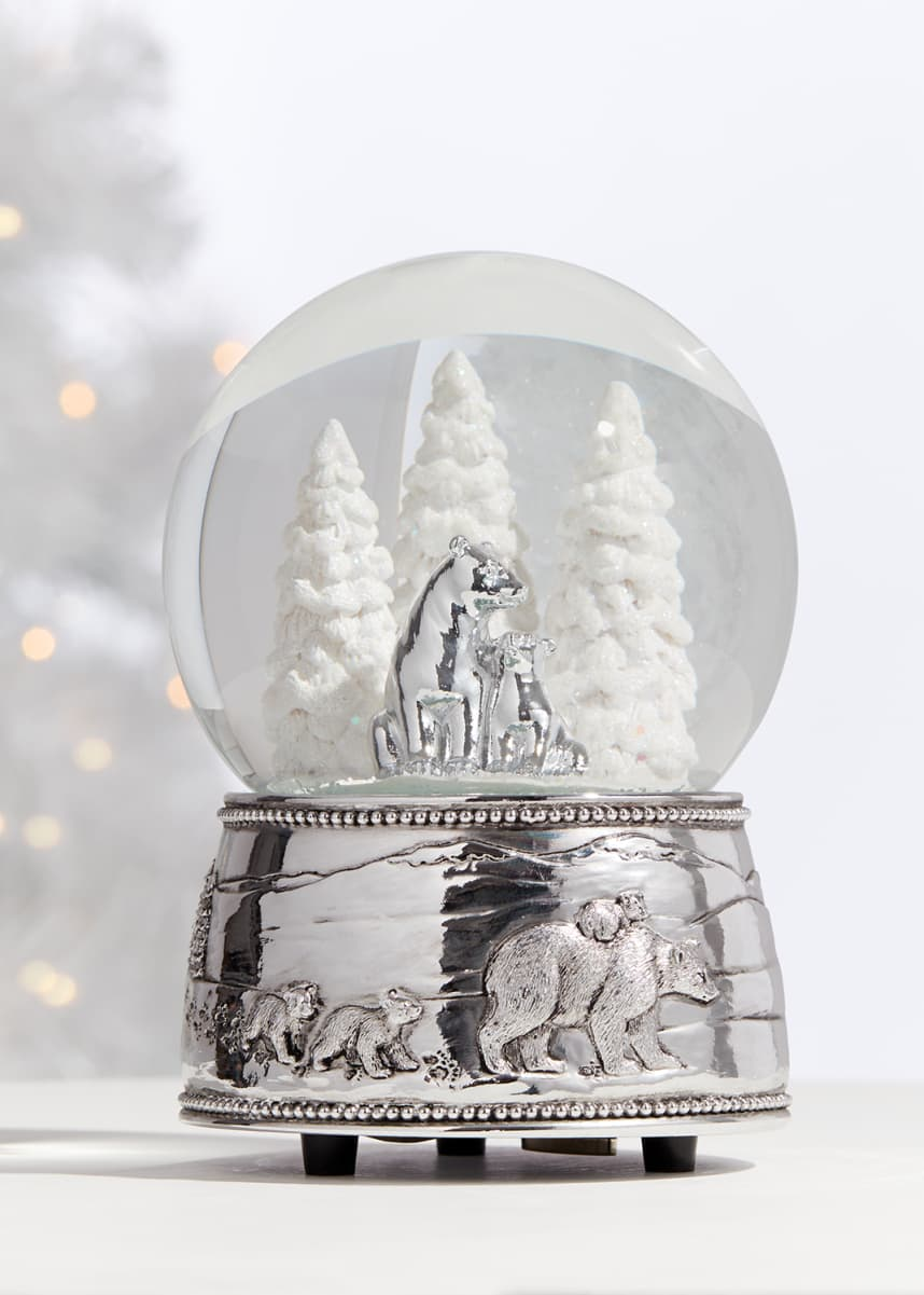 Reed & Barton Polar Bear & Cubs Musical Snow Globe
