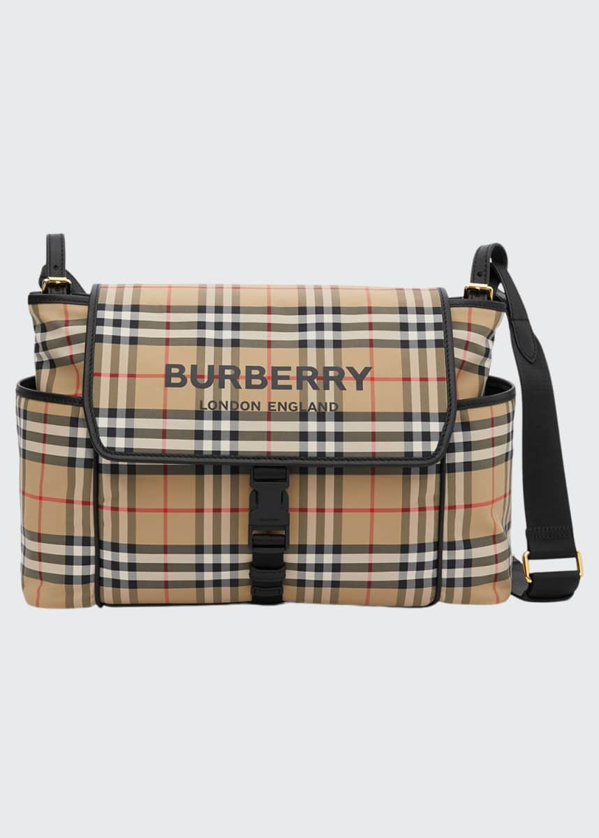 Burberry Vintage Check & Leather Diaper Bag