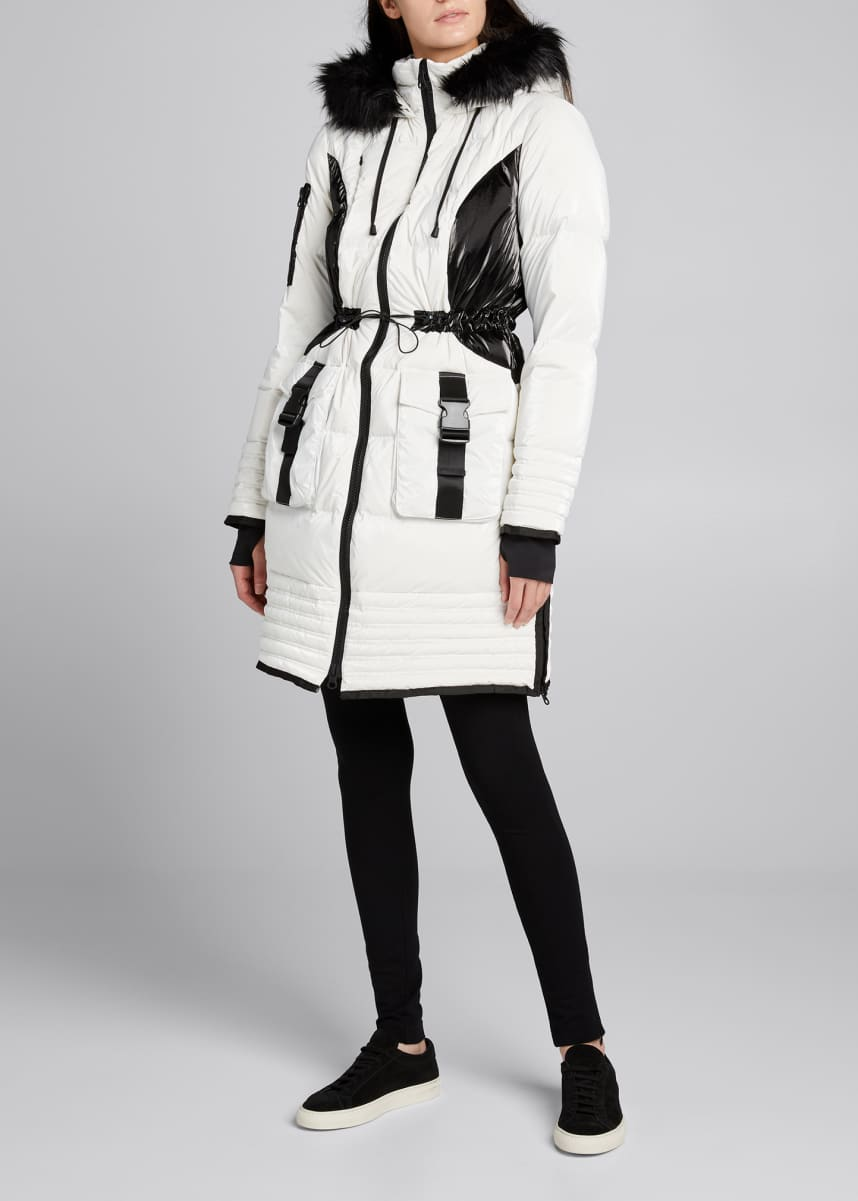Blanc Noir Breakthrough Bicolor Hooded Puffer Storm Coat
