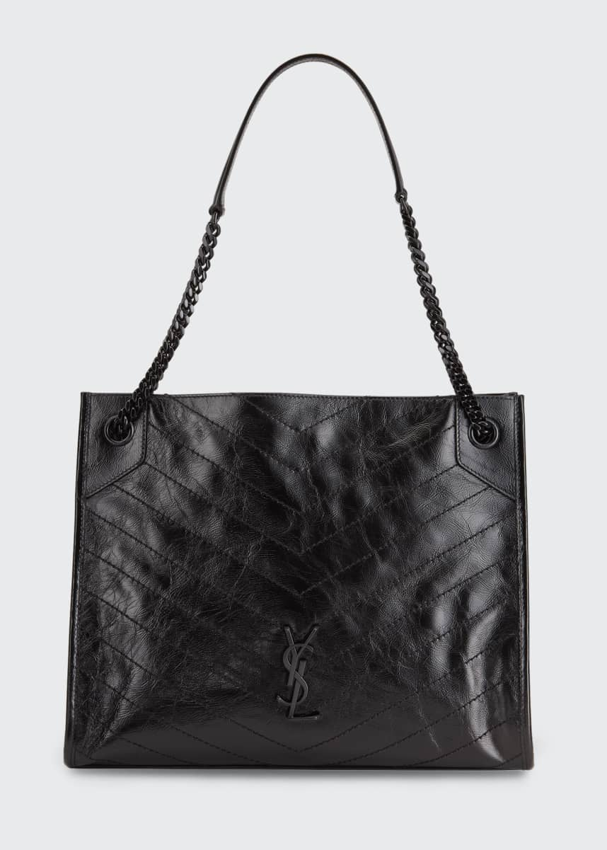 Saint Laurent Niki Medium Crinkled Calf Shopper Tote Bag