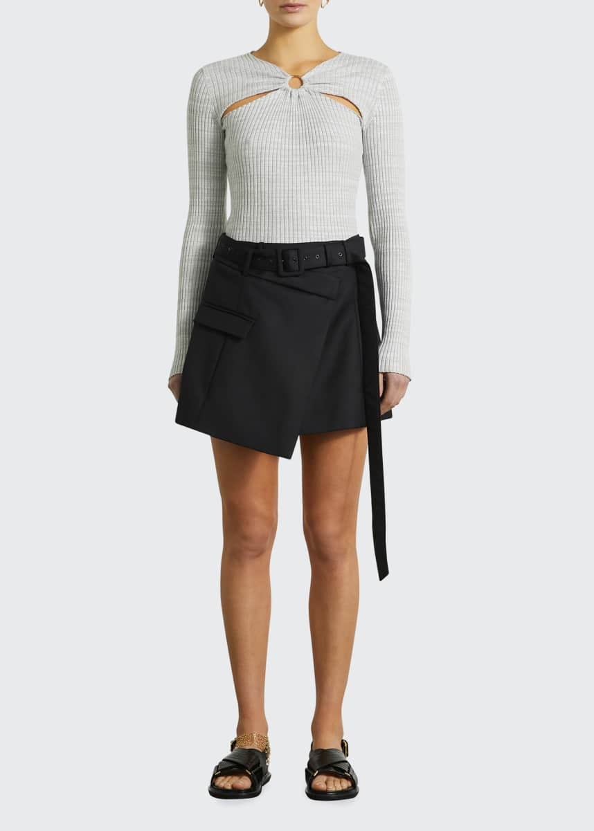 Anna Quan Nadia Draped Wool Belted Skirt