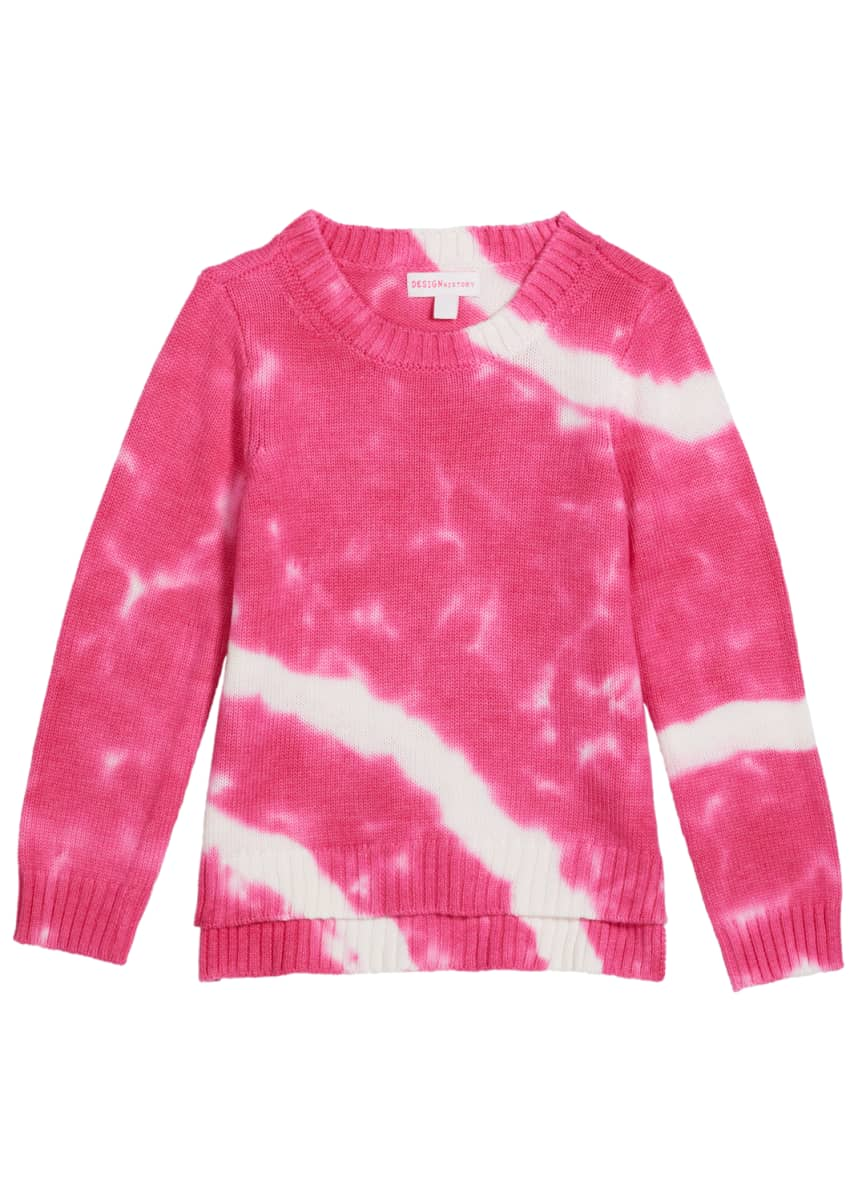 Design History Girls Girl's Tie Dyed Rib Knit Sweater, Size 2-6X