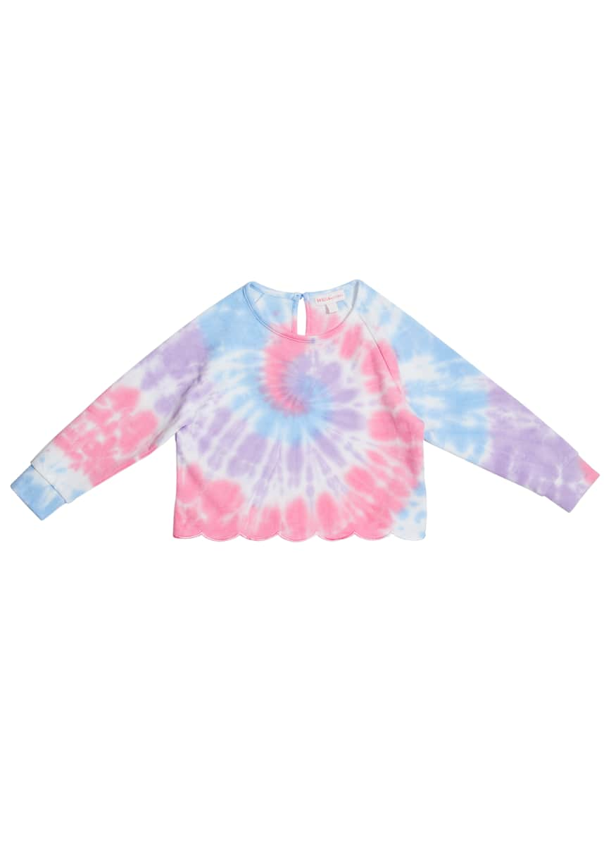 Design History Girls Girl's Scalloped Tie Dye Long-Sleeve Sweatshirt, Size 2-6X