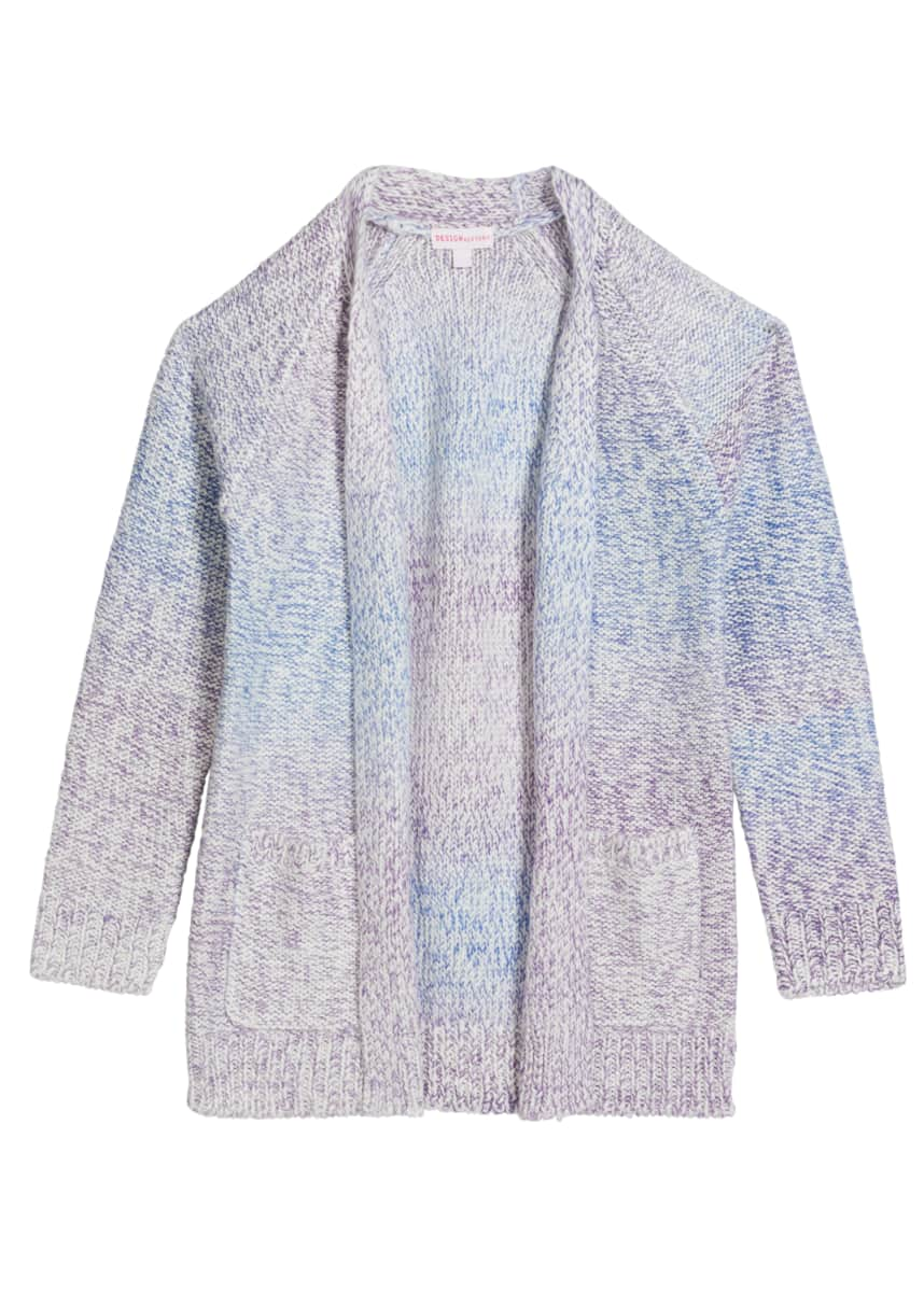 Design History Girls Girl's Marled Knit Open-Front Cardigan, Size S-XL