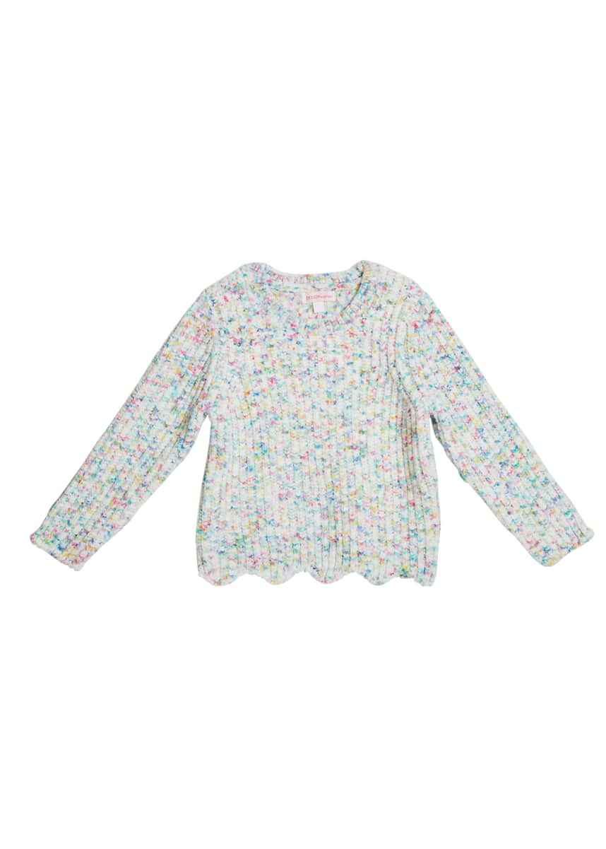 Design History Girls Girl's Funfetti Chenille Knit Sweater, Size 2-6X